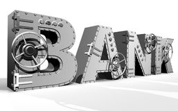 Bank. Synthesis from 3d text and banking safe Stock Photo