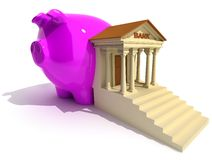 Bank. And piggy- on white. Conceptual 3d illustration Stock Photos