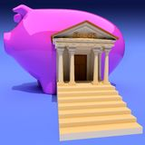 Bank. And piggy- on blue. Conceptual 3d illustration Stock Photos