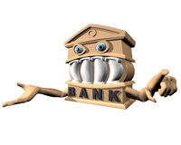 The Bank. A Bank with one arm out stretched open handed waiting for money. The other hand is pointing directly at the onlooker Royalty Free Stock Photo