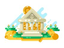 Bank abstract building with golden coin in storage. Money and finance saving in financial institution, vector illustration Stock Photos