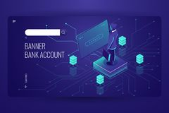 Bank account, accounting online service, data access process, artificial intelligence, man be registered in system, dark. Violet vector stock illustration