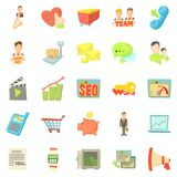 Bank account icons set, cartoon style Royalty Free Stock Image