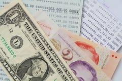 Bank account passbook  and dollar Stock Photos