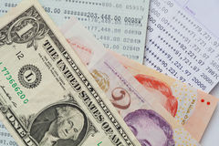 Bank account passbook  and dollar. Banknote Stock Photos