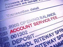 Bank Account Service Fee Statement. Bank statement of service fee vector illustration