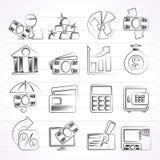 Bank-, affärs- och finanssymboler vektor illustrationer
