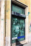 Bank agency devastation in Rome Stock Photo