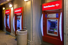 Bank of America ATM Machines In Lower Class Area. Los Angeles, USA - November 9, 2011: Three Bank of America ATM machines located in a poor area of the city in Stock Images