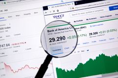 Bank of America Corporation ticker with charts Stock Image