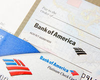 Bank of America on a debit card and check Royalty Free Stock Images