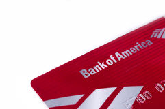 Bank of america debit credit card Stock Image
