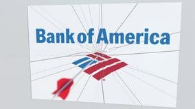 BANK OF AMERICA el logotipo de la compañía que es agrietado por la flecha del tiro al arco Animación editorial conceptual de los  stock de ilustración