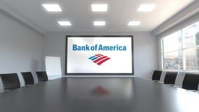 Bank of America el logotipo en la pantalla en una sala de reunión Representación editorial 3D Foto de archivo
