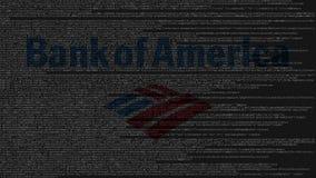 Bank of America el logotipo hecha de código fuente en la pantalla de ordenador Representación editorial 3D Stock de ilustración