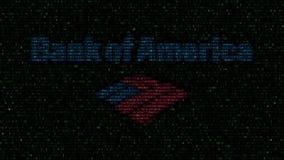 Bank of America el logotipo hecha de símbolos hexadecimales en la pantalla de ordenador Representación editorial 3D ilustración del vector