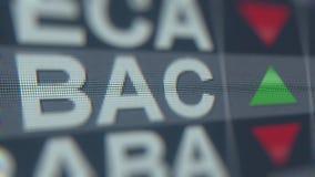 Bank of America la cinta de cotizaciones bursátiles del CCB en la pantalla Representación editorial 3D libre illustration