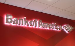 Bank of America Logo. The Bank of America logo is shown at a downtown Chicago branch of the bank Stock Photo