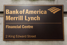 Bank of America Merrill Lynch in London. LONDON, UK - JUNE 7TH 2015: A sign on the Bank of America Merrill Lynch building located on King Edward Street in the Stock Images