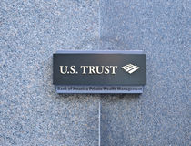 Bank of America Private Wealth Management. Bank of America U.S. Trust Plaque Royalty Free Stock Photos
