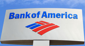 Bank of America Sign. Sign or logo of Bank of America on Blue sky Stock Photo