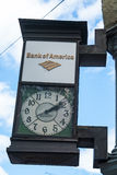 Bank of America Sign Clock in Seattle, WA Royalty Free Stock Photography