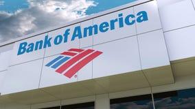 Bank of Americalogo på den moderna byggnadsfasaden Redaktörs- tolkning 3D Fotografering för Bildbyråer
