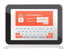 Bank application on tablet Royalty Free Stock Images