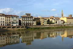 A bank of the Arno river, Florence, Italy. Bank of  the Arno river in Florence, Tuscany, Italy Stock Images