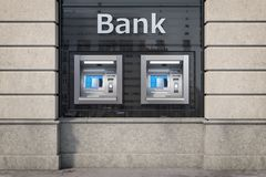 Bank ATM automatic  teller machines for money withdrawing. The station of self service automatic machines, Concept of banking stock illustration