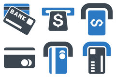 Bank ATM Flat Vector Icons. Bank ATM vector icons. Icon style is bicolor smooth blue flat symbols with rounded angles on a white background royalty free illustration