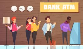 Bank ATM People Poster. Bank interior atm poster with young man couple businessman characters waiting in queue for cash vector illustration vector illustration