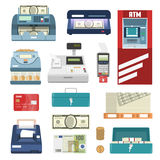 Bank Attributes Icon Set. Bank attributes isolated colored icon set with cash machine register money printing box vector illustration Stock Photos