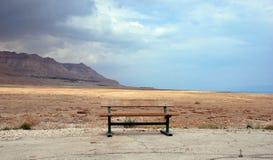 Bank auf Küstenlinie des Toten Meers Stockfotos