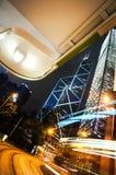 Bank av det Kina tornet och ljusa strimmor, Hong Kong Arkivbild