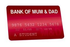 Bank av finanser för mum- och farsakreditkortfamilj Arkivbilder