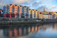 Bank av flodlän i kork, Irland centrum Royaltyfri Fotografi