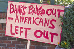 Bank Bail Out Protest Sign Royalty Free Stock Photos