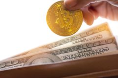 Finance investment risk Internet concept: Miniature business standing near Bitcoin Digital Virtual money with hard fork and stack. Finance investment risk stock photos
