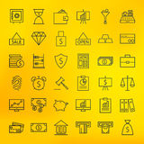 Bank Banking and Finance Business Line Big Icons Set Stock Images