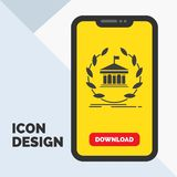 Bank, banking, online, university, building, education Glyph Icon in Mobile for Download Page. Yellow Background. Vector EPS10 Abstract Template background royalty free illustration