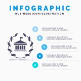 Bank, banking, online, university, building, education Infographics Template for Website and Presentation. GLyph Gray icon with. Blue infographic style vector royalty free illustration
