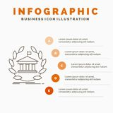Bank, banking, online, university, building, education Infographics Template for Website and Presentation. Line Gray icon with. Orange infographic style vector stock illustration