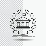 Bank, banking, online, university, building, education Line Icon on Transparent Background. Black Icon Vector Illustration. Vector EPS10 Abstract Template royalty free illustration