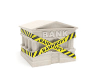 Bank bankrupt. (creative concept): banking house (building) is fenced in warning line (signal tape) with inscription (caution board) as symbol of bankruptcy Stock Photography