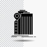 bank, bankwezen, de bouw, federaal, het Pictogram van overheidsglyph op Transparante Achtergrond Zwart pictogram vector illustratie