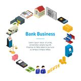Bank Banner Card Circle Isometric View. Vector. Bank Banner Card Circle Isometric View Finance Business Money Symbol on White Background. Vector illustration Stock Image