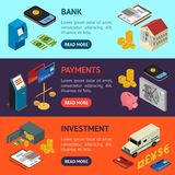 Bank Banner Horizontal Set Isometric View. Vector. Bank Banner Horizontal Set Isometric View Finance Business Money Symbol . Vector illustration Royalty Free Stock Images