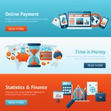 Bank banner set. Bank flat banner set with online payment time is money statistics and finance isolated vector illustration Stock Image