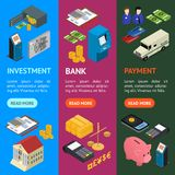 Bank Banner Vecrtical Set Isometric View. Vector. Bank Banner Vecrtical Set Isometric View Finance Business Money Symbol. Vector illustration Stock Photos